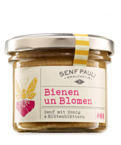 Bienen un Blomen, Senf mit Honig und Blütenblättern von Senf Pauli