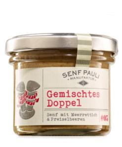 Gemischtes Doppel, Senf mit Meerrettich und Preiselbeeren von Senf Pauli